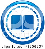 Clipart Of A Round Blue Library Book Icon Royalty Free Vector Illustration