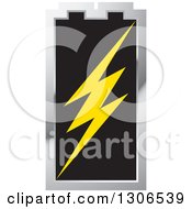 Clipart Of A Silver And Black Battery With A Bolt Royalty Free Vector Illustration