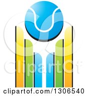 Clipart Of A Blue Cricket Ball Over Wickets Royalty Free Vector Illustration