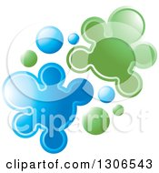 Clipart Of A Blue And Green People Shaped Splatters Royalty Free Vector Illustration by Lal Perera