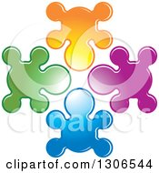 Clipart Of A Colorful People Shaped Splatters Royalty Free Vector Illustration by Lal Perera