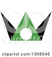 Clipart Of A Black And Green Abstract Man Royalty Free Vector Illustration by Lal Perera