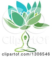 Clipart Of A Green And Blue Water Lily Lotus Flower And Meditating Person Royalty Free Vector Illustration