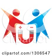 Clipart Of A Red And Blue Couple Over A Magnet Royalty Free Vector Illustration