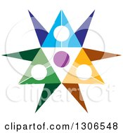 Clipart Of A Colorful Abstract Design Of A Circle Of People Royalty Free Vector Illustration by Lal Perera