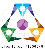 Clipart Of A Colorful Abstract Design Of A Circle Of People 2 Royalty Free Vector Illustration by Lal Perera