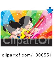 School Boy And Girl With A Red Crayon And Star Over Colors