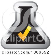 Clipart Of A Gradient Orange Check Mark Over A Black And Silver Laboratory Flask Royalty Free Vector Illustration