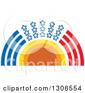 Clipart Of A Sun With An Arch Of Blue Red And Stars Royalty Free Vector Illustration