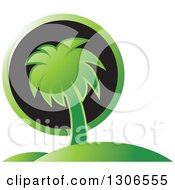 Clipart Of A Green Palm Tree Hill And Black Sun Travel Design Royalty Free Vector Illustration by Lal Perera