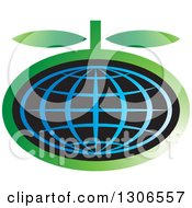 Clipart Of A Blue Wire Globe Fruit With Green Leaves Royalty Free Vector Illustration