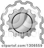 Clipart Of A Silver Geer Wheel Cog And Roller Royalty Free Vector Illustration by Lal Perera