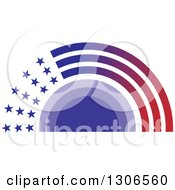Clipart Of A Purple Sunset Wiht Gradient Stars And Stripes Royalty Free Vector Illustration