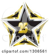 Clipart Of A Black Gold And Silver 25th Anniversary Star Royalty Free Vector Illustration by Lal Perera
