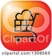 Clipart Of A Gradient Orange Sunset Square Icon With A Cloud Shopping Cart Royalty Free Vector Illustration by Lal Perera
