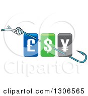 Clipart Of A Fishing Hook With Currency Symbols Royalty Free Vector Illustration