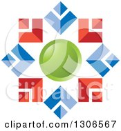 Clipart Of A Red Blue And Green Abstract Snowflake Or Flower Royalty Free Vector Illustration by Lal Perera