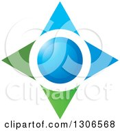 Clipart Of A Blue And Green Star Royalty Free Vector Illustration by Lal Perera
