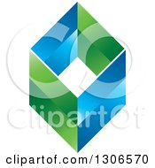 Clipart Of A Blue And Green Diamond 2 Royalty Free Vector Illustration by Lal Perera