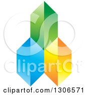 Clipart Of A Green Blue And Orange Pyramid Royalty Free Vector Illustration