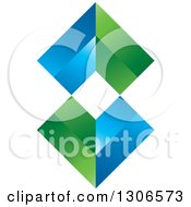 Clipart Of A Blue And Green Abstract Design Royalty Free Vector Illustration by Lal Perera