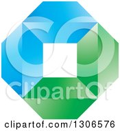 Clipart Of A Blue And Green Abstract Diamond And Square Geometric Design Royalty Free Vector Illustration by Lal Perera