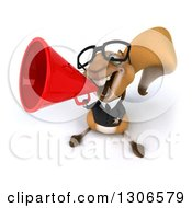 Clipart Of A 3d Bespectacled Business Squirrel Announcing Upwards With A Megaphone Royalty Free Illustration