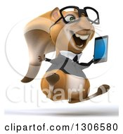 Clipart Of A 3d Bespectacled Business Squirrel Facing Slightly Right Jumping And Holding A Smart Cell Phone Royalty Free Illustration