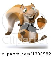 Clipart Of A 3d Business Squirrel Facing Slightly Right Jumping Giving A Thumb Up And Holding An Acorn Royalty Free Illustration