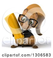 Clipart Of A 3d Bespectacled Business Squirrel Writing With A Giant Pencil Royalty Free Illustration