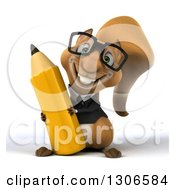 Clipart Of A 3d Bespectacled Business Squirrel With A Giant Pencil Royalty Free Illustration