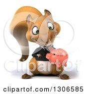 Clipart Of A 3d Business Squirrel Holding And Looking Down At A Piggy Bank Royalty Free Illustration
