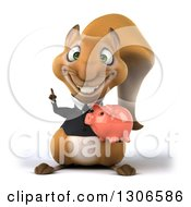 Clipart Of A 3d Business Squirrel Holding Up A Finger And A Piggy Bank Royalty Free Illustration