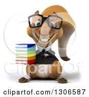 Clipart Of A 3d Bespectacled Business Squirrel Holding And Pointing To A Stack Of Books Royalty Free Illustration