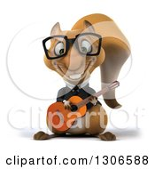 Clipart Of A 3d Bespectacled Business Squirrel Playing A Guitar Royalty Free Illustration