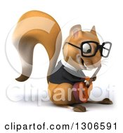 Clipart Of A 3d Bespectacled Business Squirrel Facing Right And Playing A Guitar Royalty Free Illustration
