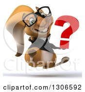 Clipart Of A 3d Bespectacled Business Squirrel Jumping Giving A Thumb Up And Holding A Question Mark Royalty Free Illustration