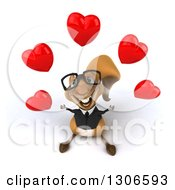 Clipart Of A 3d Bespectacled Business Squirrel Looking Up And Juggling Hearts Royalty Free Illustration