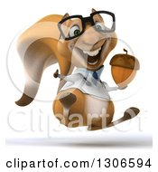 Clipart Of A 3d Bespectacled Doctor Or Veterinarian Squirrel Hopping Giving A Thumb Up And Holding An Acorn Royalty Free Illustration
