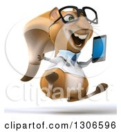 Clipart Of A 3d Excited Bespectacled Doctor Or Veterinarian Squirrel Jumping And Holding A Smart Cell Phone Royalty Free Illustration