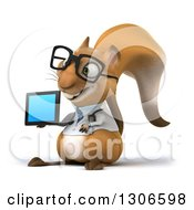 Clipart Of A 3d Bespectacled Doctor Or Veterinarian Squirrel Facing Slightly Left Holding A Tablet Or A Smart Cell Phone Royalty Free Illustration