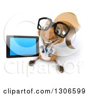 Clipart Of A 3d Bespectacled Doctor Or Veterinarian Squirrel Holding Up A Tablet Or A Smart Cell Phone Royalty Free Illustration