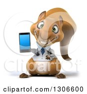 Clipart Of A 3d Doctor Or Veterinarian Squirrel Holding A Smart Cell Phone Royalty Free Illustration