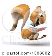 Clipart Of A 3d Doctor Or Veterinarian Squirrel Hopping To The Right And Reading A Book Royalty Free Illustration