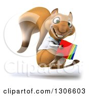 Clipart Of A 3d Doctor Or Veterinarian Squirrel Hopping To The Right With Colorful Books Royalty Free Illustration