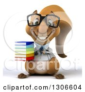 Clipart Of A 3d Bespectacled Doctor Or Veterinarian Squirrel Holding And Pointing To A Stack Of Books Royalty Free Illustration