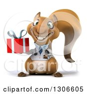 Clipart Of A 3d Doctor Or Veterinarian Squirrel Holding A Gift Royalty Free Illustration