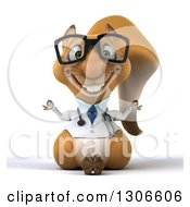 Clipart Of A 3d Bespectacled Doctor Or Veterinarian Squirrel Meditating Royalty Free Illustration