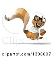Clipart Of A 3d Bespectacled Doctor Or Veterinarian Squirrel Hopping To The Right And Holding An Acorn Royalty Free Illustration