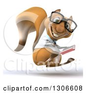 Clipart Of A 3d Bespectacled Doctor Or Veterinarian Squirrel Facing Right Jumping Holding And Pointing To A Book Royalty Free Illustration